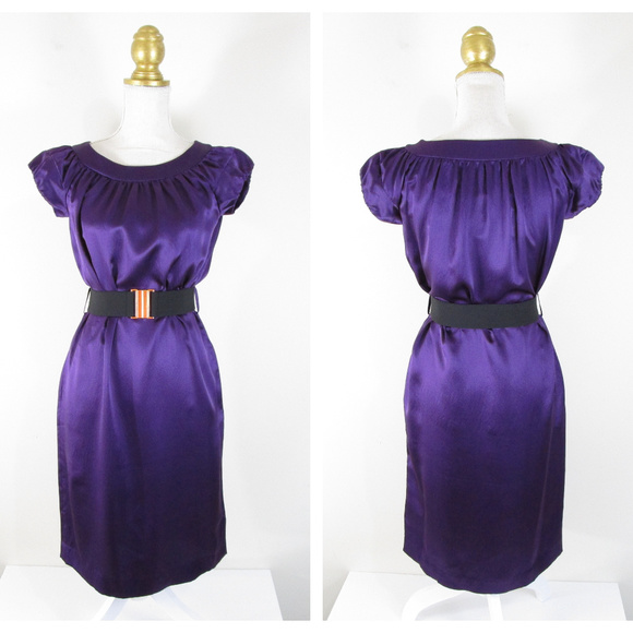 Banana Republic Dresses & Skirts - Banana Republic Purple Silk Belted Shift Dress NEW